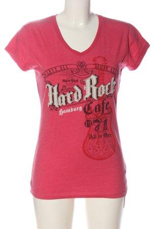 Hard Rock Cafe V-Ausschnitt-Shirt pink Schriftzug gedruckt Casual-Look