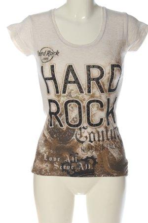 Hard Rock Couture T-Shirt wollweiß-braun Schriftzug gedruckt Casual-Look