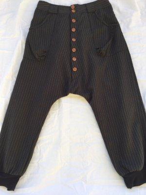 Pantalone alla turca marrone scuro-bianco sporco