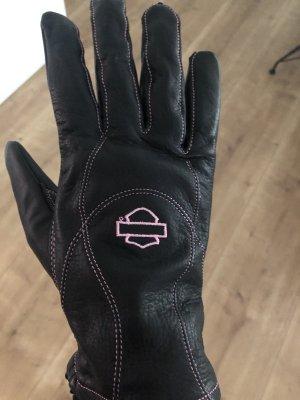 Harley Davidson Leren handschoenen zwart-neonroos Leer