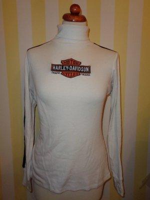 Harley Davidson Camisa de cuello de tortuga blanco-negro Algodón