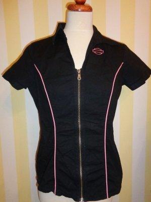 Harley Davidson Stretch Bluse Schwarz Pink