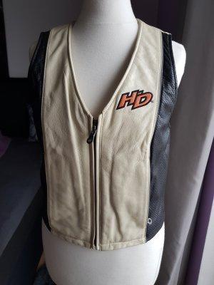 Harley Davidson Chaleco de cuero negro-blanco puro Cuero