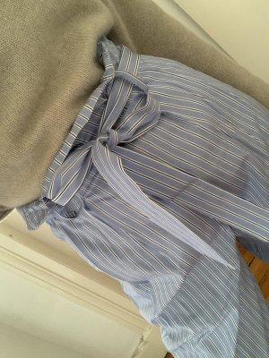 Harmony High-Waist Hose gestreift Streifen-Hose mit Gürtel in Blau Weiß 36