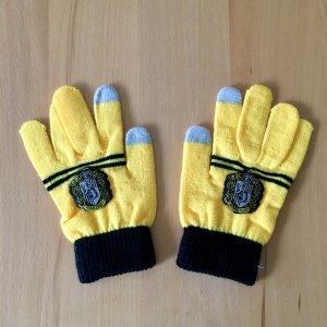 Gloves lime yellow-dark blue