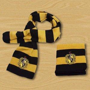 Gebreide sjaal limoen geel-blauw