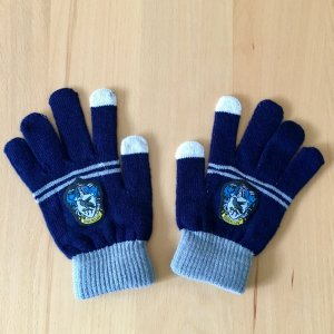 Gloves blue-silver-colored