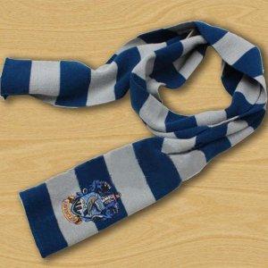 Gebreide sjaal blauw-zilver