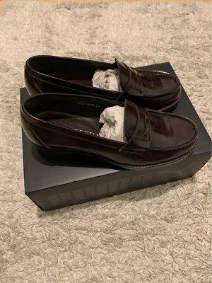 Zapatos formales sin cordones marrón oscuro-burdeos Cuero