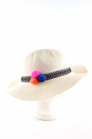 Hatattack Panama Hat natural white-black graphic pattern casual look