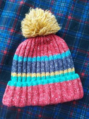 Pull & Bear Cappello con pon pon multicolore Tessuto misto