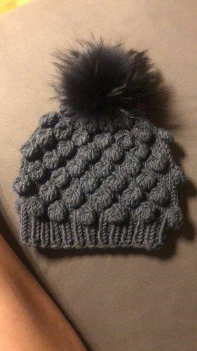 no name Sombrero de piel negro-gris