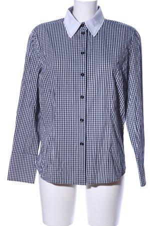 Hauber Langarmhemd schwarz-weiß Karomuster Casual-Look