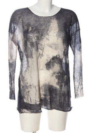 Hauber Rundhalspullover wollweiß-schwarz abstraktes Muster Casual-Look