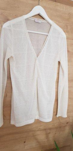 Gilet tricoté blanc cassé viscose