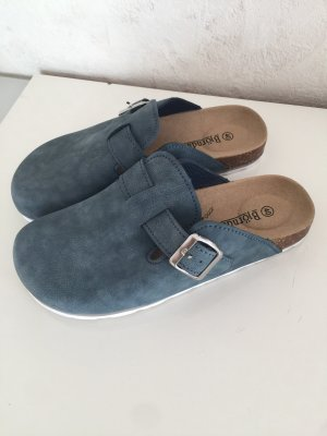 Björndal Pantoufles-chaussette bleu pétrole cuir