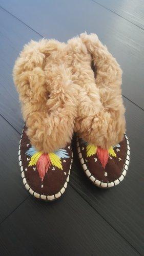 Pantoufles-chaussette marron clair-brun