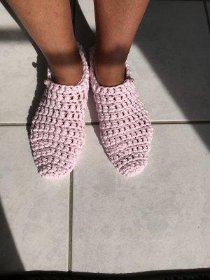 Handmade Pantoufles-chaussette rose clair