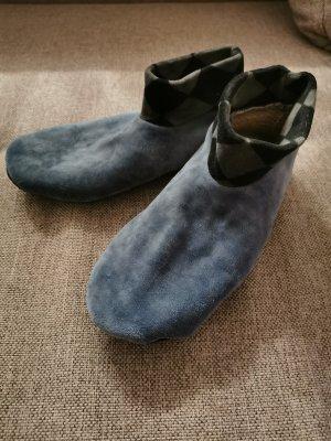 Pantoufles-chaussette gris ardoise-bleu pâle