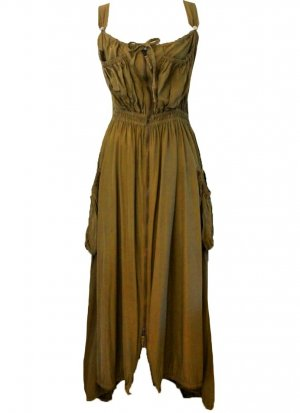 Jean Paul Gaultier Coat Dress olive green polyester