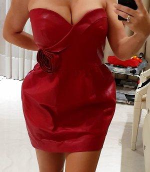 C. Valentino Evening Dress carmine leather