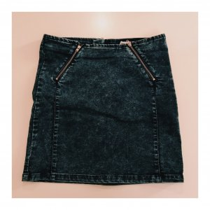 Asos Denim Denim Skirt dark blue-silver-colored mixture fibre