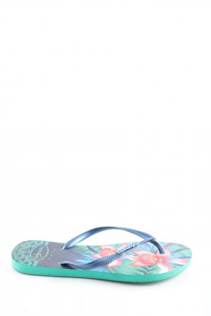 Havaianas Flip Flop Sandalen blau-türkis Blumenmuster Casual-Look