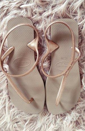 havaianas flip flop sandalen gummi rosegold Metallic kupfer