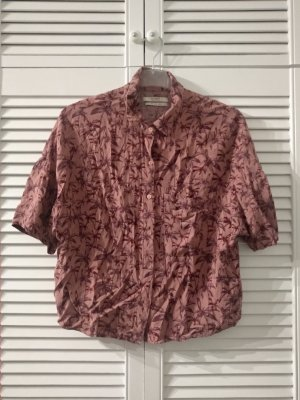 Pull & Bear Hawaiian Shirt blackberry-red-dusky pink