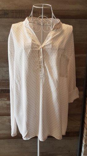 HeartKiss Blusa de cuello alto blanco-beige claro