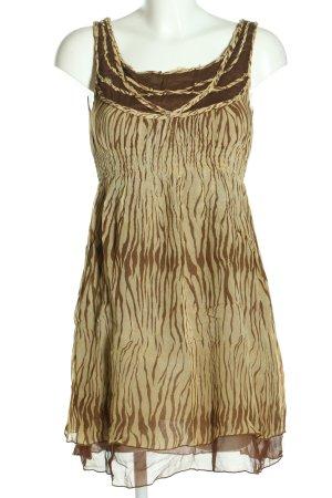 Heart Moon Star Szyfonowa sukienka w kolorze białej wełny-brązowy