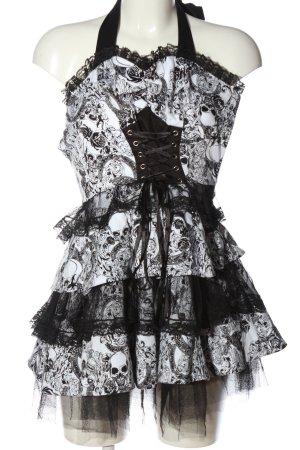 Hearts & Roses A Line Dress white-black allover print elegant
