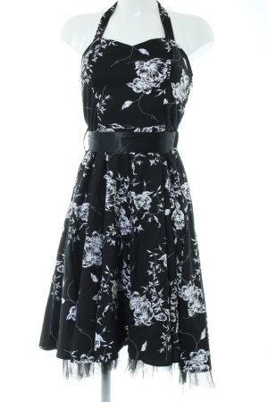 Hearts & Roses Neckholderkleid schwarz-weiß Blumenmuster Elegant