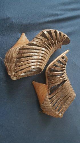 High Heel Sandal ocher imitation leather