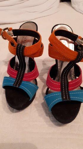Sandalo alto con plateau multicolore