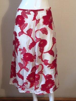 Falda de encaje rojo-blanco puro Viscosa