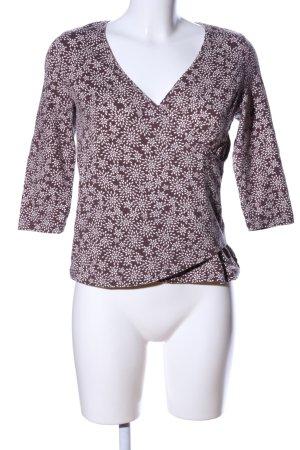 Heidekönigin V-Ausschnitt-Shirt braun-wollweiß Allover-Druck Casual-Look