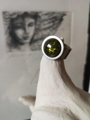 Heideman Stahlring Ring mit grünem Stein