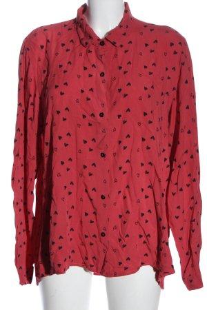 Heimatliebe Blusa-camisa rosa-negro estampado repetido sobre toda la superficie