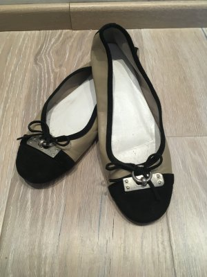 Heine Ballerinas Leder grau braun taupe schwarz Leder Gr. 37