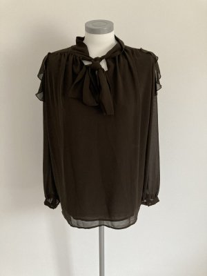 Heine Blusa collo a cravatta marrone-marrone scuro