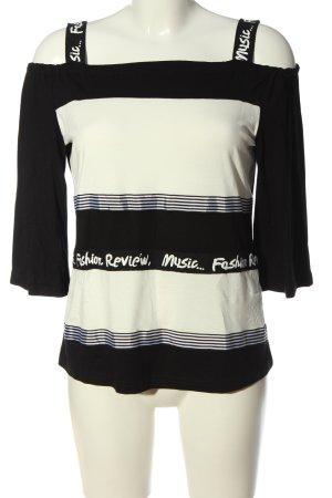 Heine Carmen Shirt black-natural white printed lettering casual look