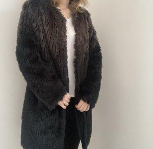 Heine Fake Fur Kunstpelz Mantel Jacke schwarz braun 38 M