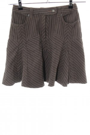 Heine Godet Skirt brown-cream striped pattern casual look