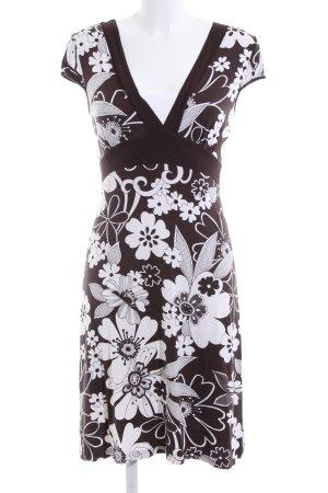 Heine Jerseykleid braun-weiß Blumenmuster Casual-Look