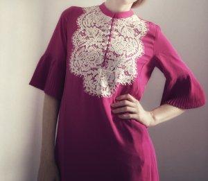Heine Kleid pink weiß Plissee Spitze 34 XS