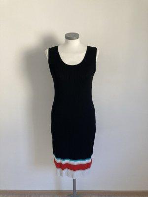 Heine Kleid Strickkleid schwarz rot blau weiß gestreift 36 S