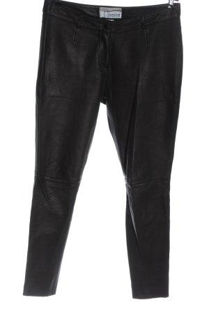 Heine Leren broek zwart casual uitstraling