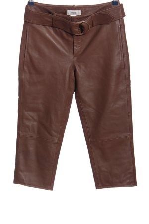 Heine Pantalón de cuero marrón look casual