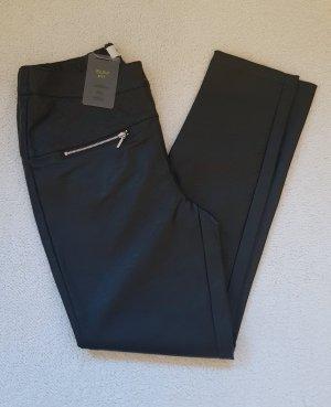 Heine Pantalón de cuero negro-color plata Imitación de cuero